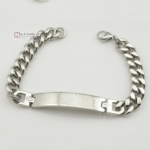 fashion gift 10mm wide mens boys charm stainless steel silver small circle granule pattern id jewelry 2015 bracelet WB1012 - No.3 Lady Jewelry store