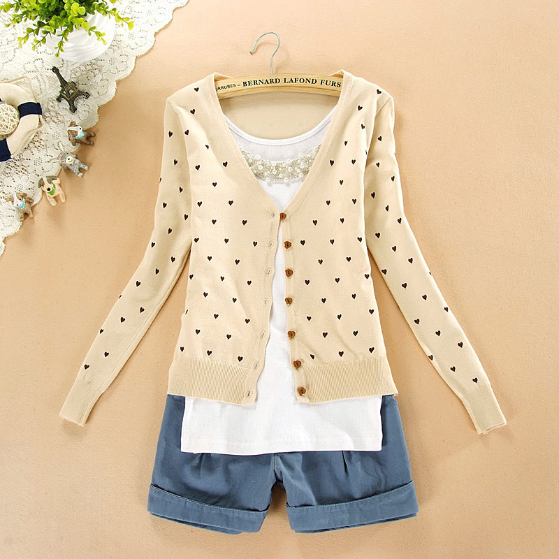 Free shipping BEST PRICE 2015 fashion women coat small love heart sweater PLUS SIZE cardigan knitted coat(China (Mainland))