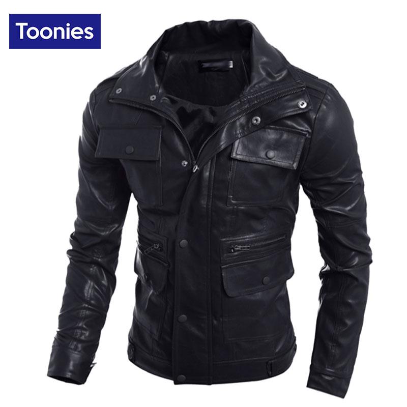 Zipper Men's Faux Leather Jacket Male Brand Motorcycle Pocket Style Solid Slim Fit Jacket Men Winproof Outwear Top For Winter