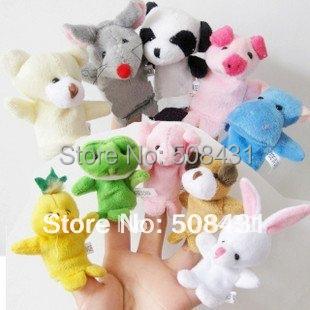 B 10pcs/set  Free Shipping Wholesale Finger Animal Puppet Plush Fingers Baby Toy Dolls Cartoon Toys Children