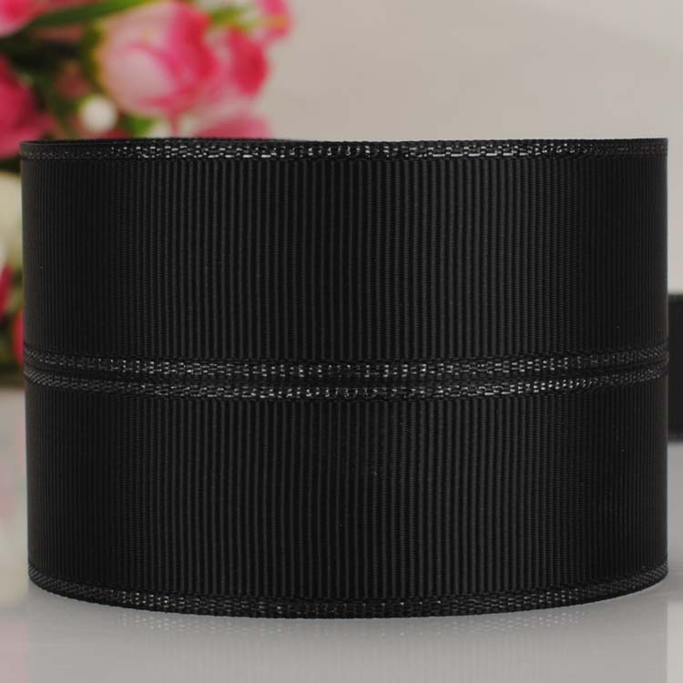 10 yards 1''25mm BLACK 030 ribbons with silver wired ribbon grosgrain ribbon DIY party decoration Free Shipping(China (Mainland))