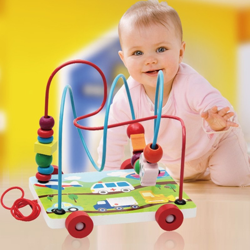 Baby Wooden Toy Mini Around Beads Car Shape Children Kids Colorful Wooden Wire Maze Educational Game Toy(China (Mainland))