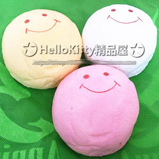 Jumbo 10cm 3 colors (Pink White Yellow) smile marshmallow bun squishy phone charm SQUISHIES Pendants Baby Toy free shipping 39