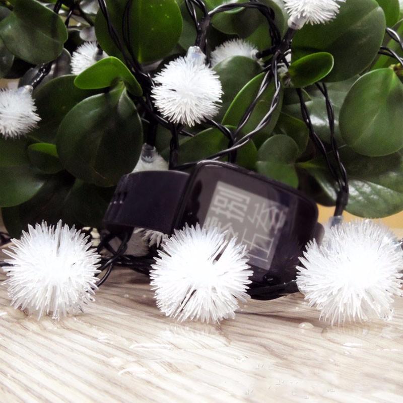 solar LED fuzzy ball light string-5