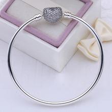 100% 925 sterling silver bangle love heart Charm pave CZ original logo beads fit Pandora bracelet for women pulsera jewelry gift(China (Mainland))