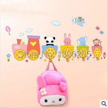 New Arrival NEW!  Kids 3D Cartoon Decorative Wall Stickers Hook Strong Stick Hook Coat  Wall Hooks +Sticker Free Shipping(China (Mainland))