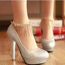 Woman Pumps Wedding Shoes 2016 New High-heeled Fine with Fringed Shoes Platform tassel Women Shoes High Heels 12cm Zapatos Mujer