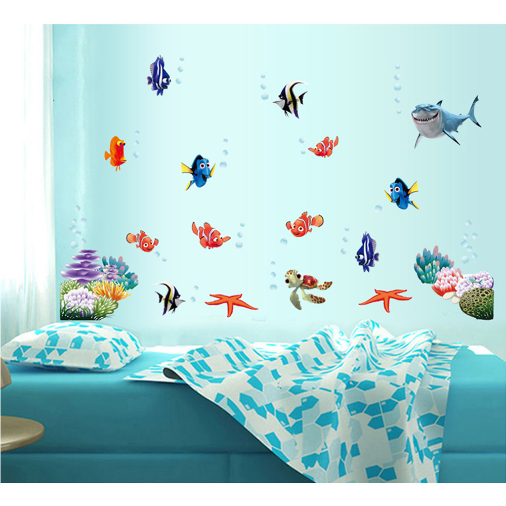 DIY Home Decoration Underwater World Various Fish Ocean Wall Sticker Wallpaper Art Decor Mural Room Decal Adesivo De Parede(China (Mainland))