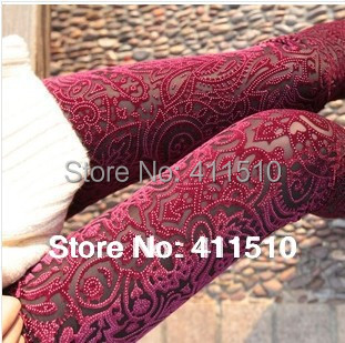 Free Shipping New Arrival 3 Colors For Women Fashion Hollow Gold Velvet Leggings Love  Warm Pants With High Quality  K572