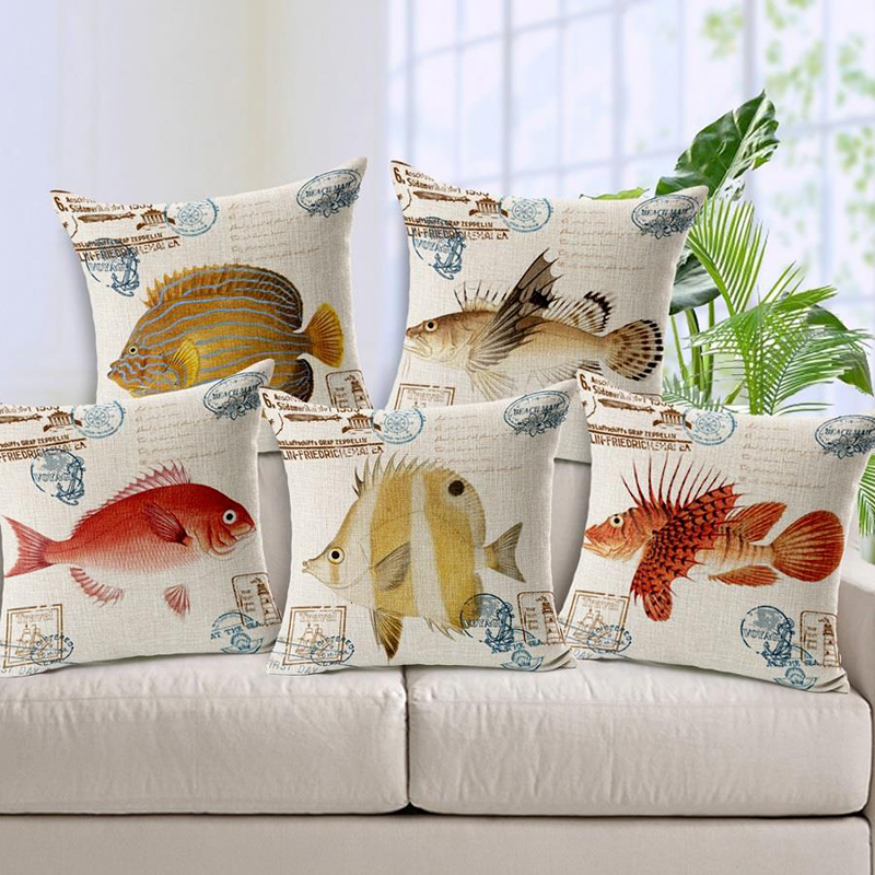 Blue Ocean Fish Printed Cushion Cover Marine Life Throw Pillow Case Linen Cotton 45X45cm 30*50 Rectangle Living Room Decor Gift(China (Mainland))