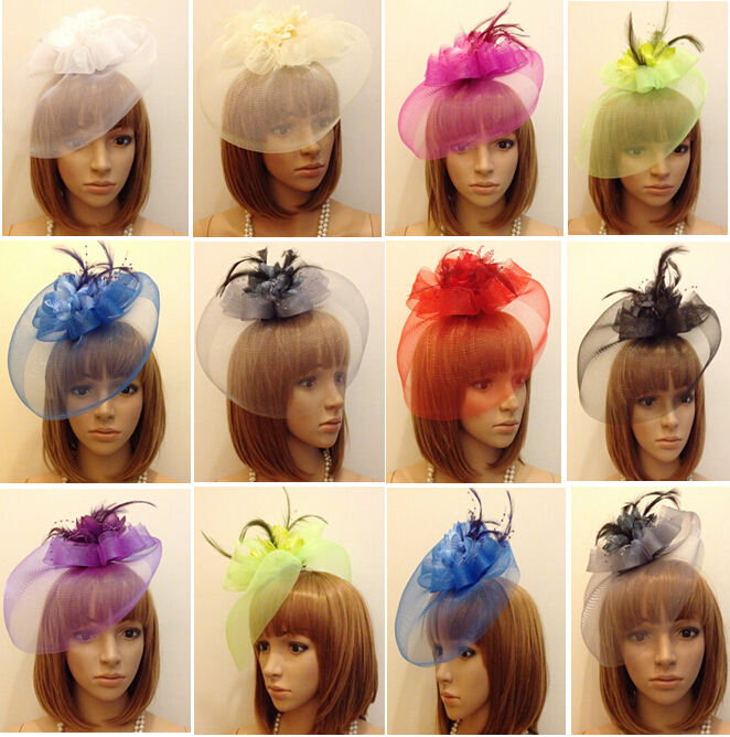 Wholesale 18 colors feather fascinator clip,wedding bridal fascinator veil,hair ornament,Headdress flower,fancy party fascinator(China (Mainland))