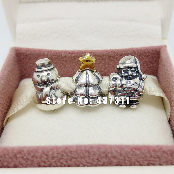 925 Sterling Silver Under the Christmas Tree Set Charm beads Jewelry Set with Charm Box Fit European Bracelet Gift Set(China (Mainland))