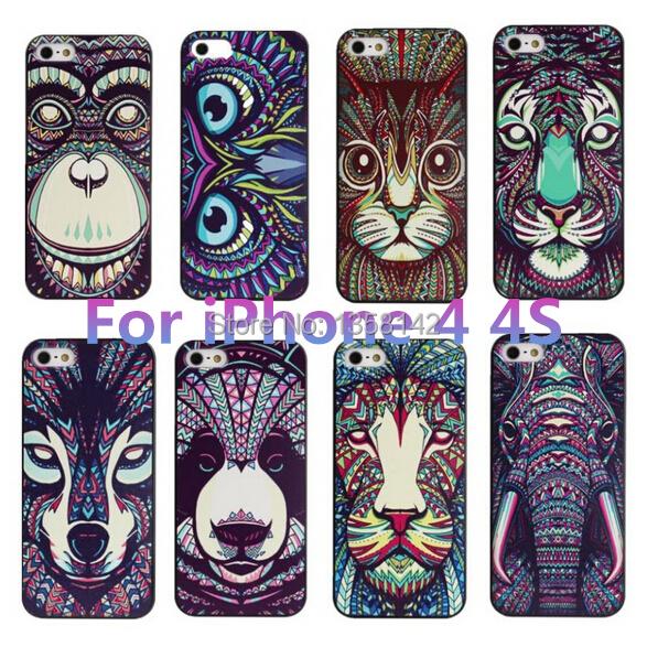 Apple iPhone 4 4S 4G Case Cover Fashion Cute Aztec Animal Elephant Tiger Owl Orangutan Bear Kitten Wolf Painted Back Lucky - HongKong Five-A Group Co.,Ltd store