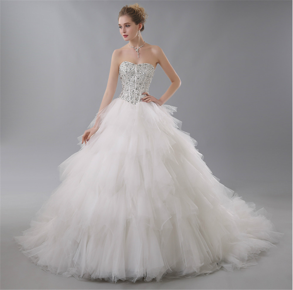 Luxury 2015 crystal backless ball gown wedding dresses for Strapless and backless wedding dress