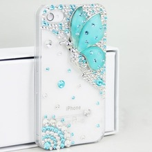 New Luxury Crystal Diamond Cute Bling Crystal Rhinestone Butterfly Case Cover For iPhone 4S 4 100pcs/lot(China (Mainland))