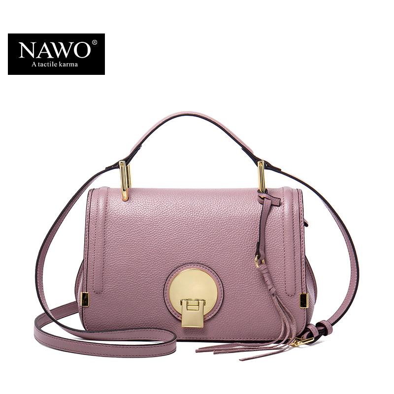 NAWO Genuine Leather Women Messenger Bag Pink Small Handbag Designer Brand Real Leather Crossbody Bag Ladies Tassel Women Bag(China (Mainland))