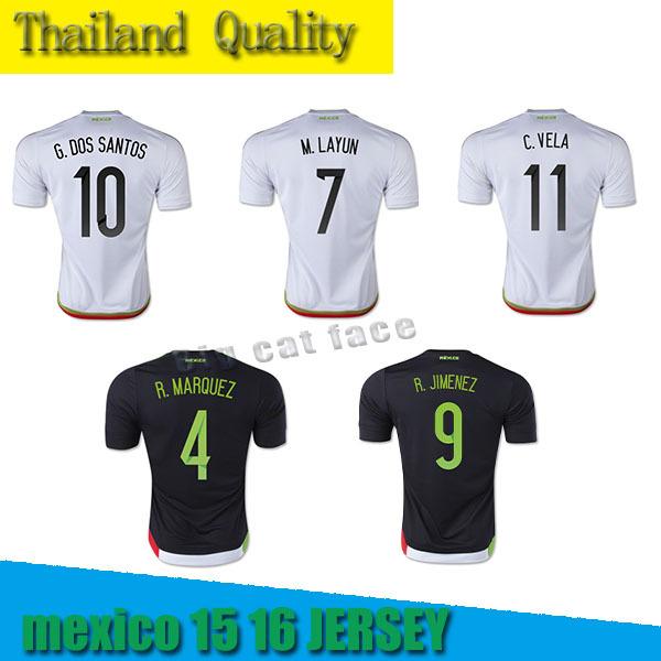 new Jersey Chicharito futebol preto branco National Team Mexico Camisetas Futbol 15 16 de futebol HERNANDEZ OPERALTA(China (Mainland))