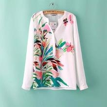 Summer 2015 Ladies Elegant Plant Floral Print Blouse Long Sleeve Chiffon blusas White Color women tops(China (Mainland))