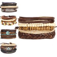 Buy 2017 New Brinco Rock Leather Bracelet Men Jewelry Wood Bead Bracelets Women Vintage Punk Bracelets & Bangles Christmas Gift for $1.89 in AliExpress store