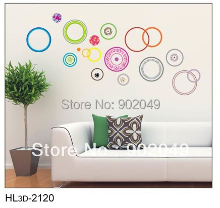 50x70cm Hot sale colorful circles art wall sticker decals wall papers enjoying life quotes KW- HL3d-2120