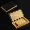 Book Shaped Real Top Layer Leather Spain Cedar Wood Lined Cigarette Cigar Humidor Box Case Tube