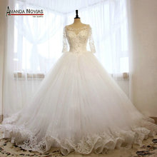 Stunning Three Quarter Sleeves Lace Ball Gown Wedding Dress(China (Mainland))