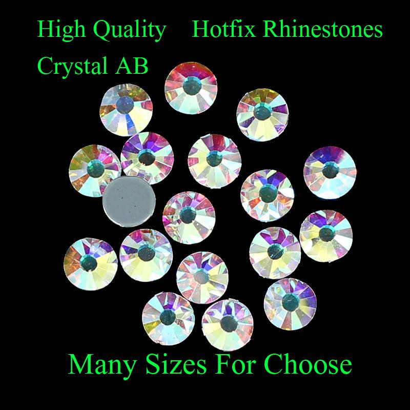 High Quality Crystal AB Many Sizes For Choose Hotfix Rhinestones With Glue Backing Iron on Perfect For DIYClothes Shoes Dresses(China (Mainland))