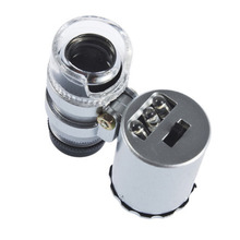 1pcs Fresh Promotion New Arrival 60X Zoom LED Microscope Micro Lens New Silver(China (Mainland))