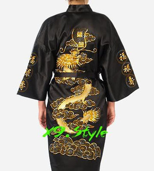 black Chinese tradition Style Men Hotel Bathrobe Kimono gown sleepwear with Dragon YF1309