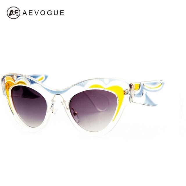 Aevogue дизайна Cat Eye солнцезащитные очки женщин высокое качество прозрачный кадр повезло облако текстуры солнцезащитные очки UV400 AE0199