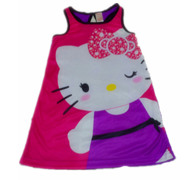 2016 New Arrival Girls Dress Hello kitty Cartoon Slip Dress Kids Braces Dress Childrens Clothing Cute Clothes<br><br>Aliexpress