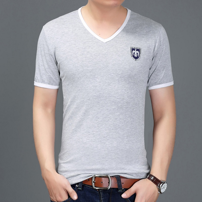 New Brand V Neck Sexy Men T-Shirt Vintage Short Sleeve Solid Color Muscle Fit T Shirt Men Top Tees Fashion(China (Mainland))