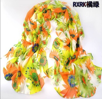 1PC Hot New Design Happy blooming sun flower printed long chiffon silk scarf WJ-010