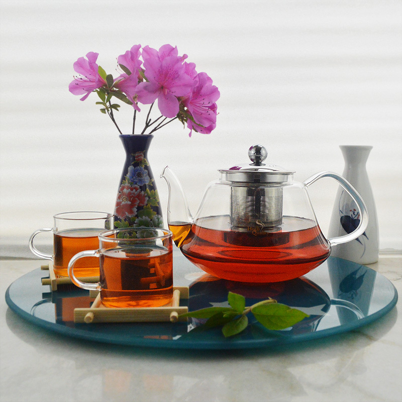 Glass flower teapot set/coffee maker,1pc 600ml pot+ 6pcs Straight Cup+ 1pc Stainless steel base(China (Mainland))