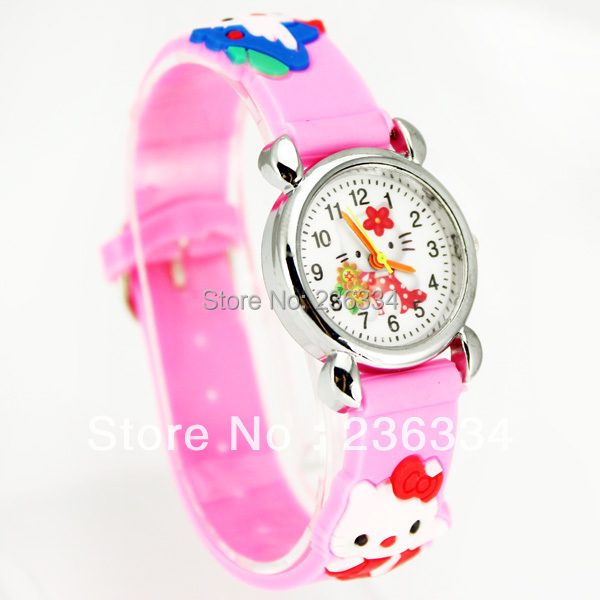 1pc Hello Kitty Christmas Gift Boys Girls Fashion Casual Cartoon Children's Silicone Quartz Watches 8 Colors , C12(China (Mainland))
