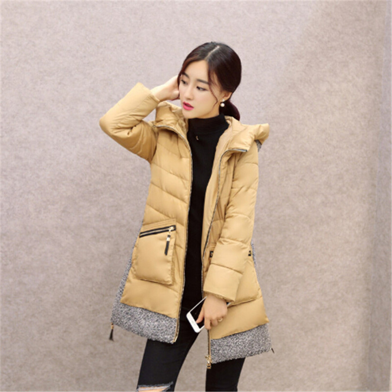 Фотография Women winter coat warm long section thick down cotton padded jacket Slim woolen patchwork women parka A-line down jacket TT232