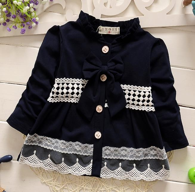 new 2016 spring autumn lace patchwork girls coat cute long sleeve bow baby girls jackets fashion