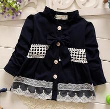 new 2016 spring autumn lace patchwork girls coat cute long sleeve bow baby girls jackets fashion newborn princess outerwear coat