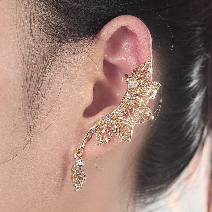 Pendientes Trendy style fashion clip earrings hot sale ear cuff for women gold plated leaf earring full crystal earrings(China (Mainland))