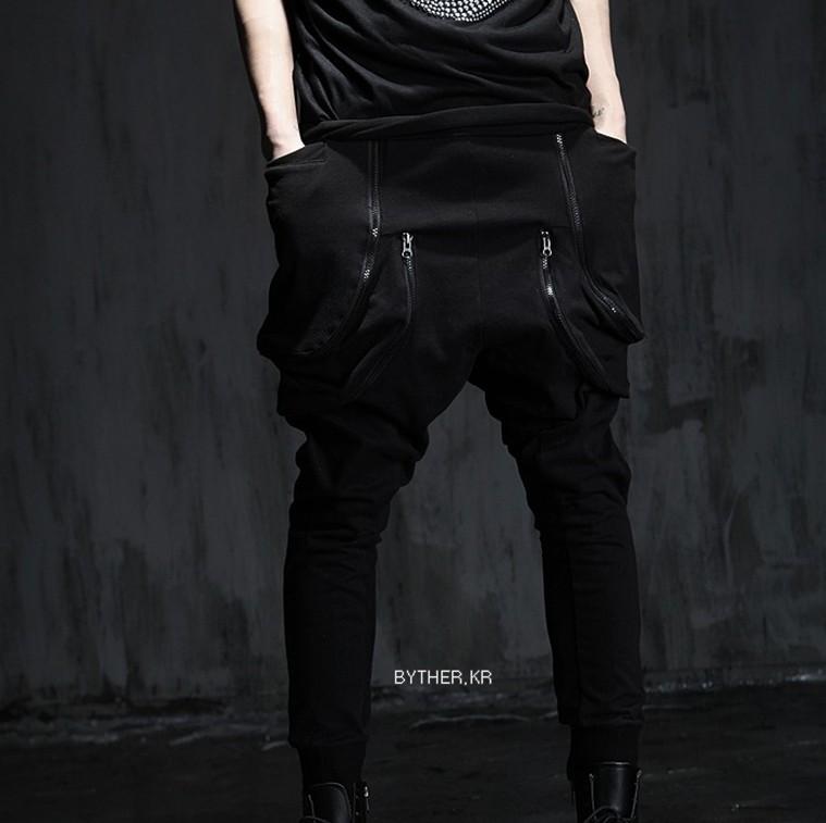 Brand New Street Fashion Low-Crotch Sweatpants Trousers Men Harem Pants Punk Men's Zipper Big Pocket sport Man Cargo Joggers,Q85(China (Mainland))