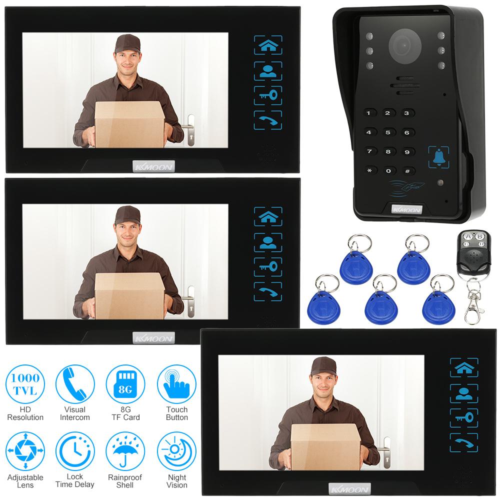 "KKMOON 7"" Wired Video Door Phone System Record/Snapshot Visual Intercom Doorbell 1000TVL Night View Rainproof Outdoor Camera(China (Mainland))"
