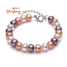 Top quality 8-9mm natural freshwater pearl bracelet for women white/multi-color two types fashion charm bracelet(China (Mainland))