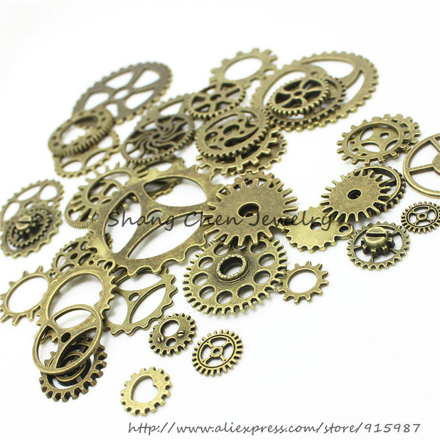 Sweet Bell 20-25 pattern Mixed 200 PCS Assorted  gear Charms Pendants gear Metal Alloy Pandent Plated Antique Bronze Diy  D0163