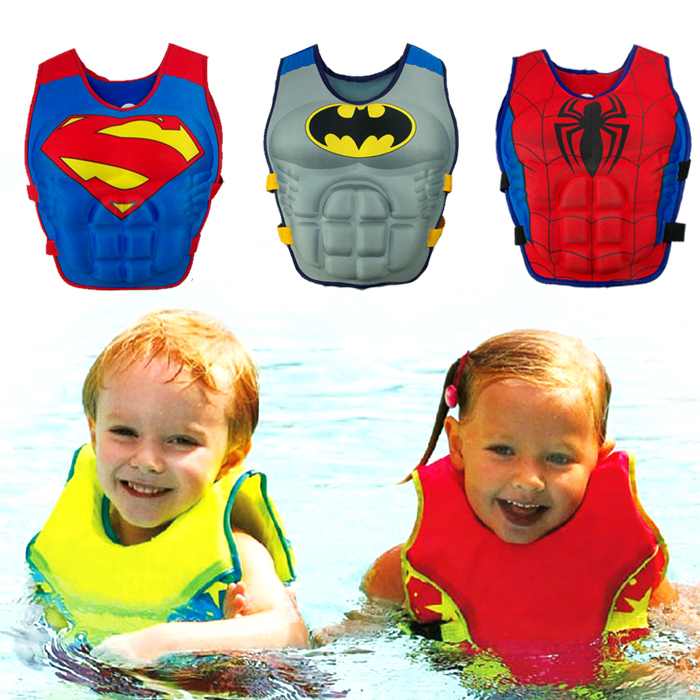Adjustable Boy Kids Cartoon Batman Spider-Man life vest jacket Buoyancy Swimming ring 2-8 Years pvc Fashion Safety life vest(China (Mainland))