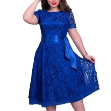 WJ Cute Style Autumn Womens Dress 2017 Fit and Flare Solid Short Regular Blue Color Empire O-neck Mid-calf Lace Sashes Dresses(China (Mainland))
