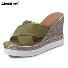 Buy Female Wedges Sandals Women Peep Toe Slipper Hallow Platform High Wedges Shoes Summer Beach Vacation Footwears Size 35-39 for $16.81 in AliExpress store