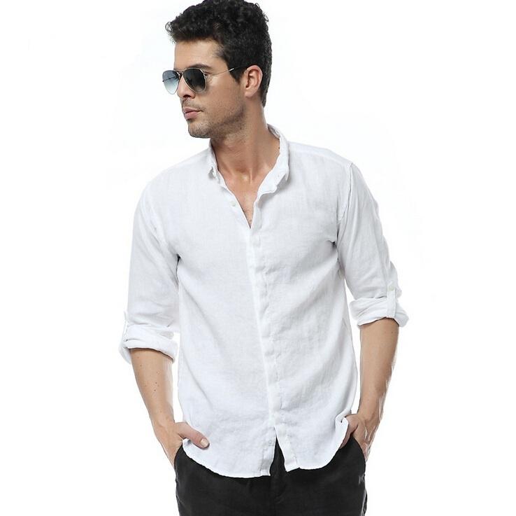 New arrival men 39 s high quality white 100 linen long for Mens linen dress shirt