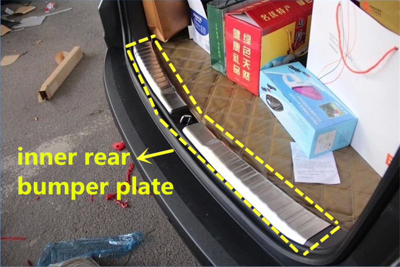 Car accessories inner rear bumper plate rear trunk door sill plate for honda crv cr-v 2012 2013 2014 2015 stainless steel 2pcs(China (Mainland))