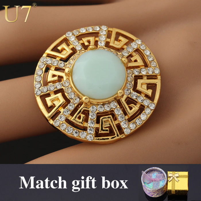 Vintage G Letter Design Fashion Jewelry Wholesale 18K Real Gold Plated Rhinestone & Opal Rings For Women Men Jewelry U7 R314(China (Mainland))