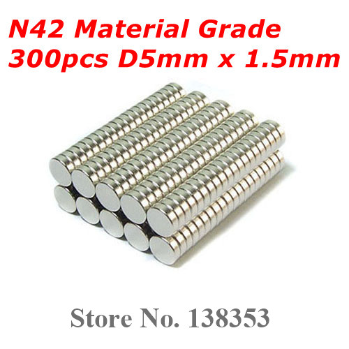 Гаджет  300pcs Bulk Small Round N40 N42 Neodymium Jewelry Magnets Dia 5mm x 1.5mm Super Strong Rare Earth NdFeB Disc Magnet None Строительство и Недвижимость